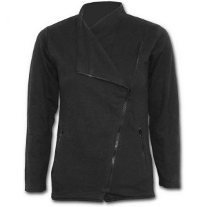 Косуха METAL STREETWEAR - Slant Zip Women Biker Jacket Black - Изображение