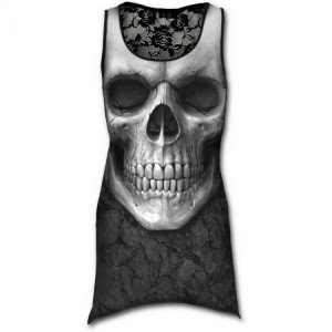 Топ - платье с черепом SOLEMN SKULL - Allover Goth Bottom Lace Top Black - Изображение