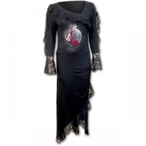 Платье TEMPTRESS - Lace Drape Asymmetric Neck Gothic Dress - Изображение