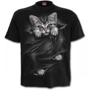 Футболка с котом BRIGHT EYES - Front Print T-Shirt Black - Изображение