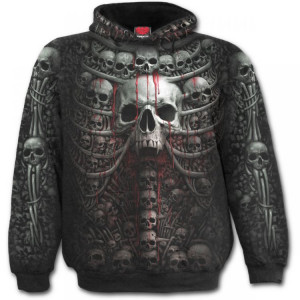 Балахон DEATH RIBS - Allover Hoody Black - Изображение