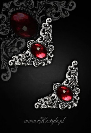 "Заколки для волос ""CORNERS-RED"" Decorative hairclips, pair of gothic hair pins - Изображение"
