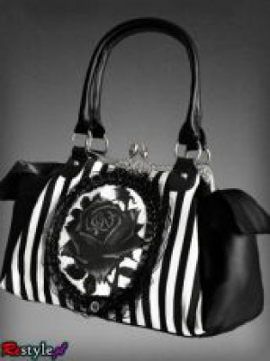 Сумка Black rose neo-victorian bag in black and white vertical stripes - Изображение 2