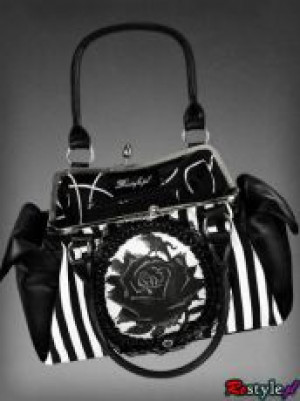 Сумка Black rose neo-victorian bag in black and white vertical stripes - Изображение 4