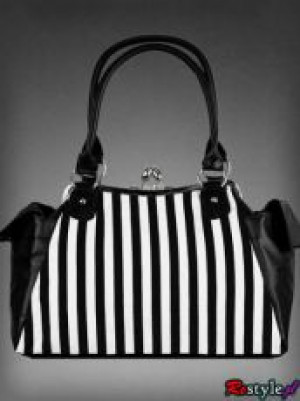 Сумка Black rose neo-victorian bag in black and white vertical stripes - Изображение 5