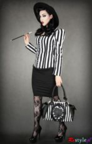 Сумка Black rose neo-victorian bag in black and white vertical stripes - Изображение 6