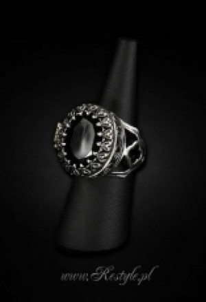 "Кольцо - тайник Gothic, locket ring ""POISON RING - BLACK"" Oval ring with secret compartment - Изображение 1"