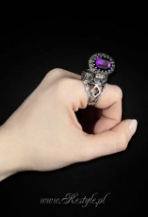 "Кольцо - тайник Gothic, locket ring ""POISON RING - PURPLE"" Oval ring with secret compartment - Изображение 3"
