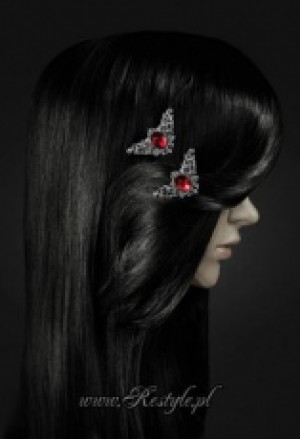 "Заколки для волос ""CORNERS-RED"" Decorative hairclips, pair of gothic hair pins - Изображение 2"