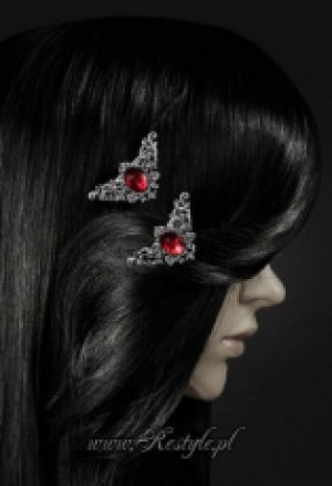 "Заколки для волос ""CORNERS-RED"" Decorative hairclips, pair of gothic hair pins - Изображение 3"