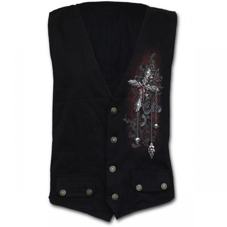 Жилет CROSS OF DARKNESS - Gothic Waistcoat Four Button with Lining - Изображение