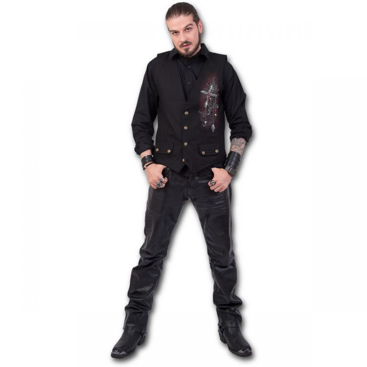 Жилет CROSS OF DARKNESS - Gothic Waistcoat Four Button with Lining - Изображение 2
