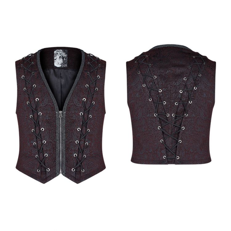 Жилет Goth Black and Red Vest - Изображение