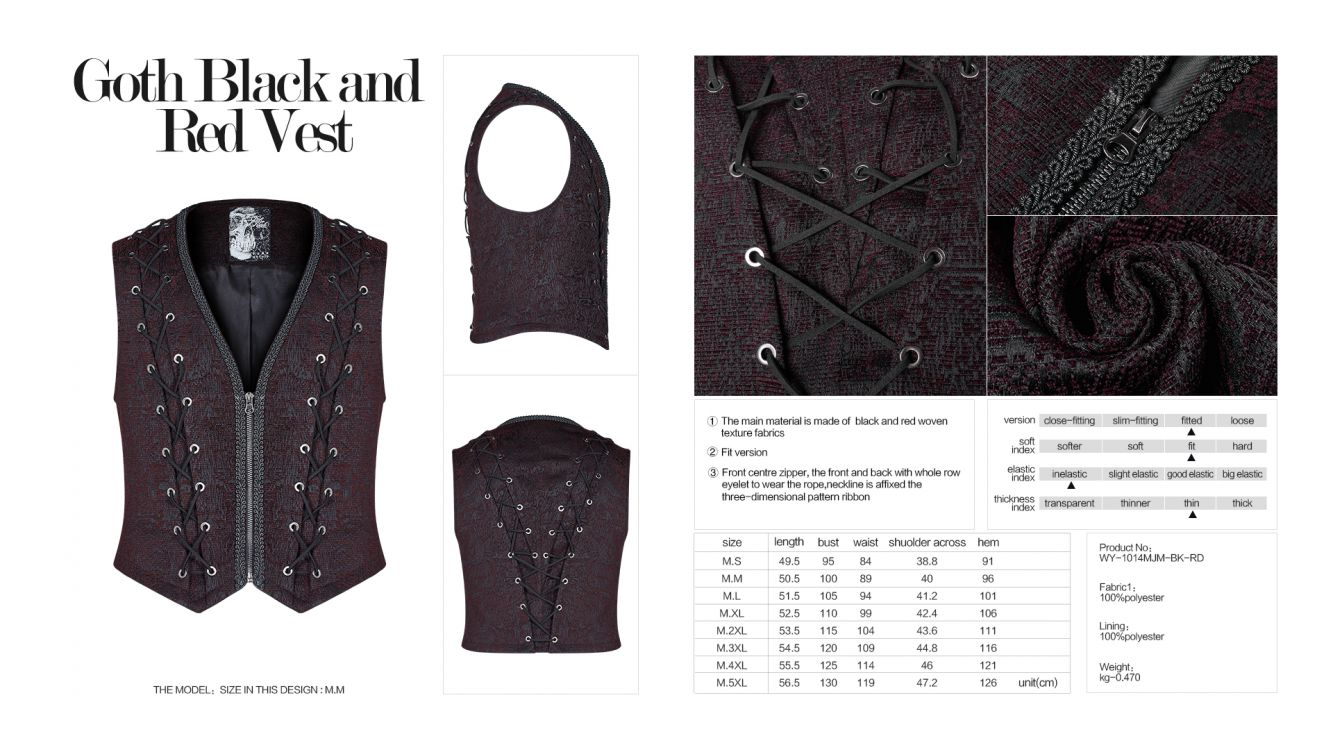 Жилет Goth Black and Red Vest - Изображение 8