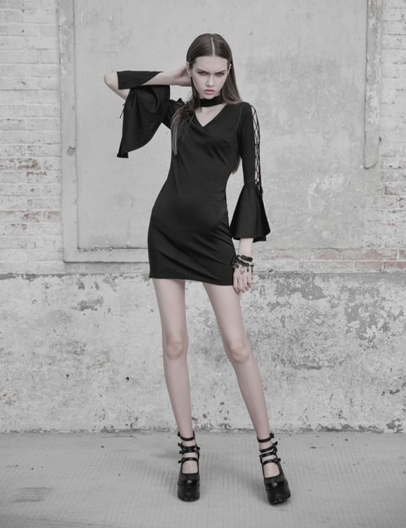Платье V Collar Roping Flare Sleeve Tight Hip Dress Punk Rave OPQ-403LQF/BK / Готический стиль / Изображение 5