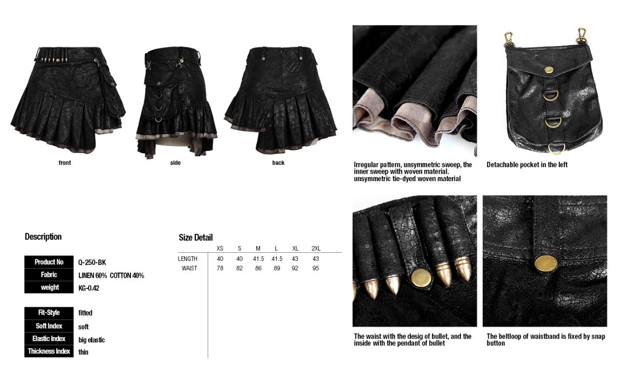 Юбка Uniform Style Bullet Version Skirt Punk Rave Q-250/BK Изображение 9
